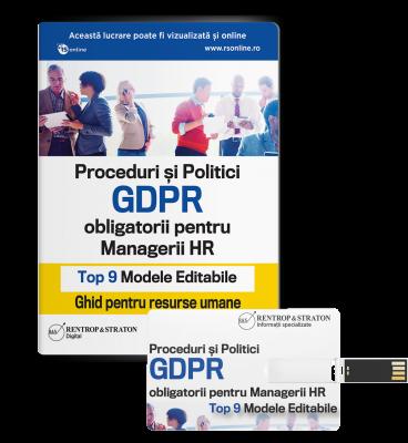 Proceduri si Politici GDPR obligatorii pentru Managerii HR - Ghid pentru Resurse Umane - Top 9 Modele editabile