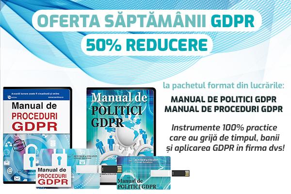 Modelele de politici GDPR, sfaturi si recomandari: 50% reducere la pachet